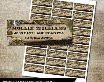 Steampunk Gears Address Labels DIY Avery Labels for printing yourself Gears and Cogs Printable Return Address Labels Digital File