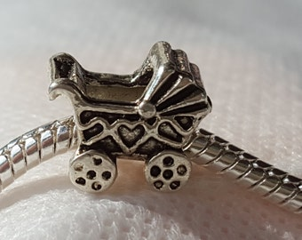 Infant baby Carriage / Stroller / Buggy Charm - Tibetan Silver - Fits all Designer and European Charm Bracelets*