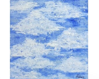 Cloud painting Abstract sky art Abstract landscape sky art Cloud art Blue sky painting Cloud wall art Oil painting Nursery wall art 14x14""