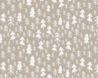 Taupe Baby Woodland Trees Organic Fabric - By The Yard - Girl / Boy / Gender Neutral