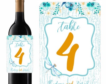 Wedding Wine Labels Table Numbers Blue Dragonfly Rustic Wood Background Designer Labels Waterproof Vinyl