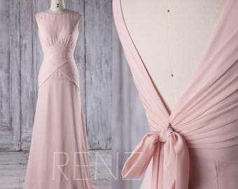 Peach Chiffon Bridesmaid Dress,V Back Wedding Dress with Bow,Long A Line Prom Dress,Bateau Neck Evening Gown,Formal Dress Floor Length(J191)