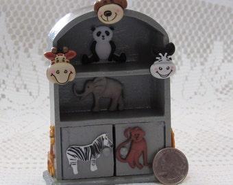Zoo Animals dollhouse miniature cabinet