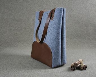 Medium grey felt bag,Leather tote bag, handmade bag,  grey tote, tote, large tote bag, felt tote bag
