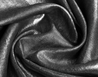 Linen Fabric By the yard Metallic Glimmer Silver on Black