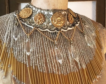 Greco Roman Egyptian Medallion Fringe Collar Necklace by Louise Black