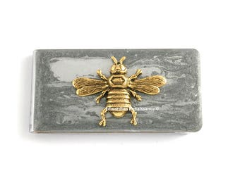 Antique Gold Bee Money Clip Inlaid in Hand Painted Glossy Silver Enamel Gothis Romace with Personalized and Color Options
