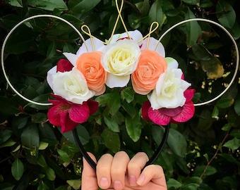 Wire mouse ears, floral ears, flower headband, tiara crown, minnie flower crown, Dapper Day