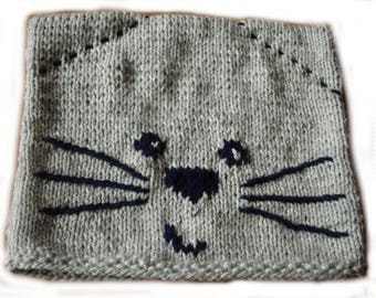 Navy Blue and gray cat Hat
