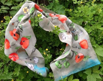 Grey chiffon scarf with red poppy flowers, batik silk shawl, floral neckerchief, pure silk scarf, mom boho gift, hand painted spring scarf