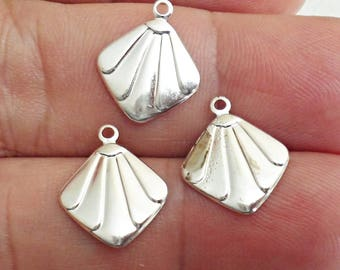 Set Of 6 Silver ox Brass Stamping  Charm  Pendant Vintage Jewelry Findings made in USA /2z