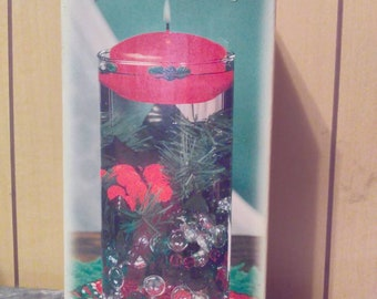 Vintage Florasense Holiday Glass Vase And Floating Candle