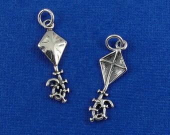 Kite Charm - Sterling Silver Kite Charm for Necklace or Bracelet