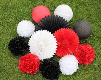 Set of 12 Red Black White DIY  Tissue Paper Pom Poms Tissue Paper Fan Paper Lantern for Party Bridal Shower Decor Boy Baby Shower Decoration