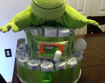 Plush Frog Pillow Diaper Cake
