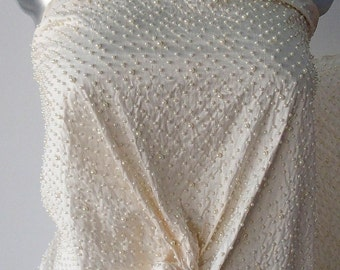 ivory embroidered Dupion silk fabric bridal pearls 135 cm wide