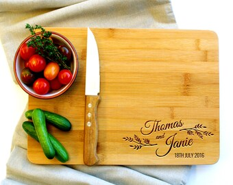 Personalized Cutting Board, Cheese board, Custom Cutting Board, Wedding cutting board, Script Leaf, Gifts for couples