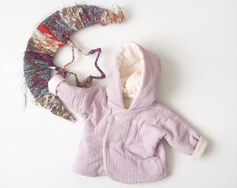 """Baby réversible """"Lutin"""" jacket, Parme, made in France, kimono sleeve, Double gauze"""