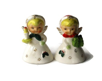 Vintage Christmas Holiday Angel Bell bells Napco Lefton Shopper Girl figurine Candle Present Japan Ornament Decoration