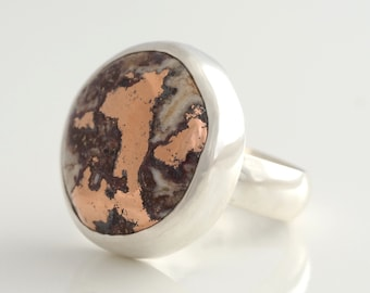 Native Copper Ring - Copper in Dolomite Statement ring Sterling Silver 14K Rose Gold - US size 8.75 - Chunky Unisex ring - size 8 3/4