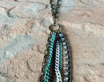 Long and Beautiful Necklace with Different Styles of Chain Dangling from the bottom in Gold, Turquoise and MORE!