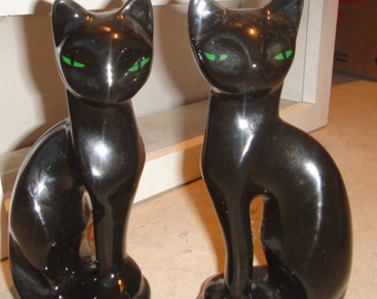 Vintage Black Siamese Cats Figurines Made In Taiwan ,Black Ceramic Siamese Cat Statues / Pair Black Mid Century Cat Statues