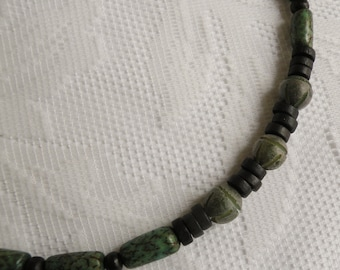 Green Betel Nut and Black Wood Necklace 2
