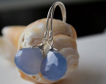 Blue Chalcedony and Sterling Silver Earrings Handmade Wire Wrapped