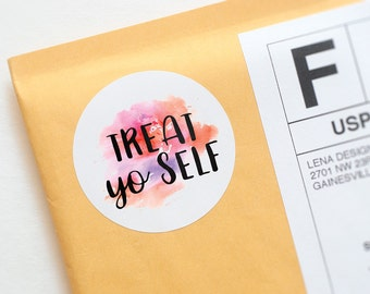Treat Yo Self Stickers - Packaging Supplies - Happy Mail Stickers - Package Stickers - Bakery Stickers - Treat Bag Stickers - Favor Stickers