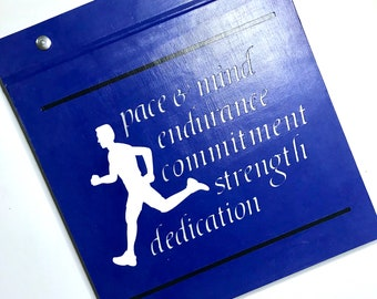 Race Bib Holder - Pace and Mind endurance commitment strength dedication Royal Blue white gray
