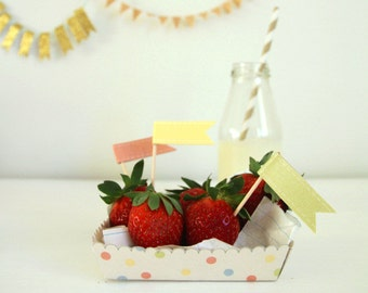 Confetti Paper Trays/Food Boat - Printable DIY PDF Instant Download