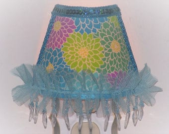 Bright Blue Girly Girl CHIC Flower NIGHT LIGHT with Blue Beaded Fringe, Sequin Trim and Tulle