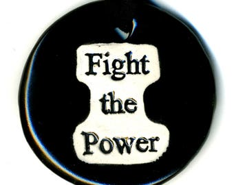 Fight the Power Ceramic Necklace in Black