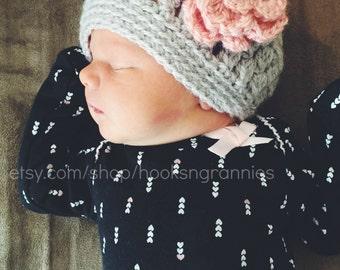 Baby Crochet Grey Beanie with Rose Pink Flower feminine puff stitch newborn hat