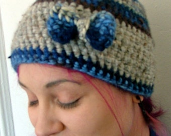 Crochet Beanie, Gray, Blue, Brown, Removable Bow Pin