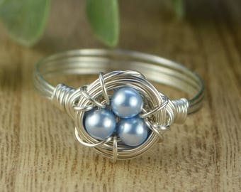Blue Pearls Birds Nest Ring- Sterling Silver, Yellow or Rose Gold Filled Wire/Swarovski Crystal Pearls- Any Size 4 5 6 7 8 9 10 11 12 13 14