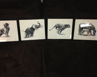 Four framed signed antique D. Schwartz charcoal animal prints