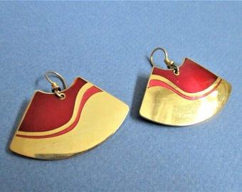 Laurel Burch Earrings Gold Burgundy Earrings Geometric Dangle Fan Earrings Pierced Earwires Pierced Artful Drop Earrings Red Gold Jewelry