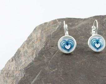 Silver Earrings Heart Blue White