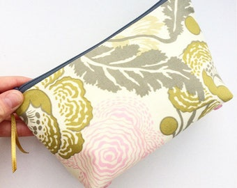 Floral Fabric Large Beauty Bag, Make-Up Bag, Pouch, Zipper