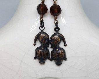 Jester Earrings, Court Jester Earrings, Mardi Gras Earrings, Dangle Earrings, Gift for Her, Fun Earrings