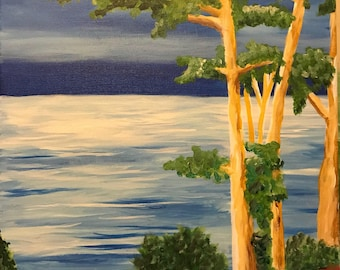 Tall Trees Looking Over The Water