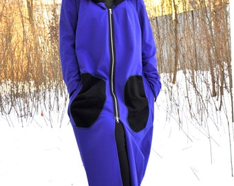 Royal Blue Long Jacket/Warm Lined coat/Long winter Jacket/Quilted Cotton Woman Jacket/Outside pockets/Wool hood/Hooded/Zipped jacket/C0250