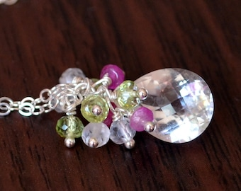 Spring Bridal Necklace, Crystal Quartz Peridot Pink Ruby Cluster, Sterling Silver, Gemstone Jewelry - Spring Thaw - Free Shipping