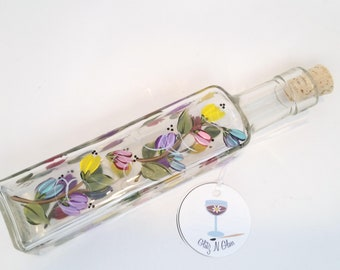 Hand Painted Glass Oil Bottle With Pastel Multi-colored Blooms on a Vine