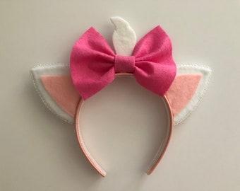 Aristocats Marie Mouse Ears, Mickey Ears, Minnie Ears, Mouse Ear Headband, Mickey Ear Headband, Minnie Ear Headband, Handmade