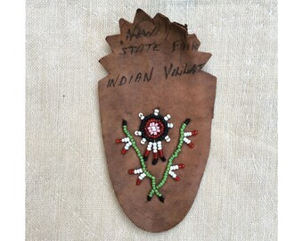vintage c. 1940s beaded leather patch // New York State Fair Indian Village