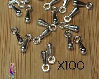 100 silver plated drop charms charms