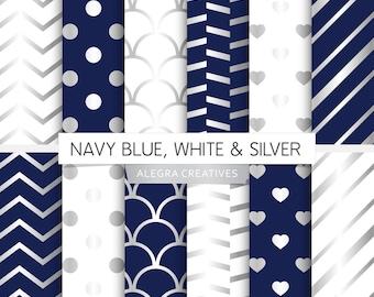 Navy Blue, White & Silver digital paper, navy blue and silver, white and silver, scrapbook papers (Instant Download)