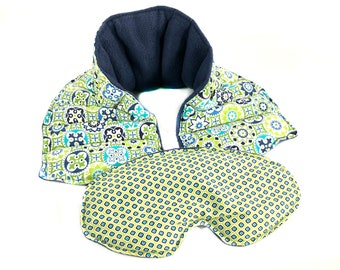 Spa Gift, Relaxation Gift, Rice Heating Pad, Neck Wrap, Eye Pillow, Set of 2, Microwave Heat Wrap, Microwaveable, Cold Pack, Ships Free!